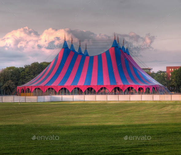 circus tent red blue green - Stock Photo - Images