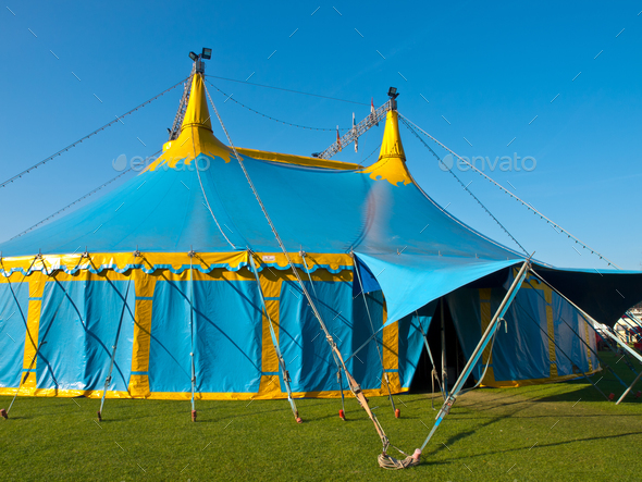 Blue and yellow big top circus tent - Stock Photo - Images