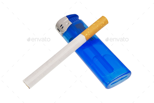 Lighter and cigarette on a white background - Stock Photo - Images