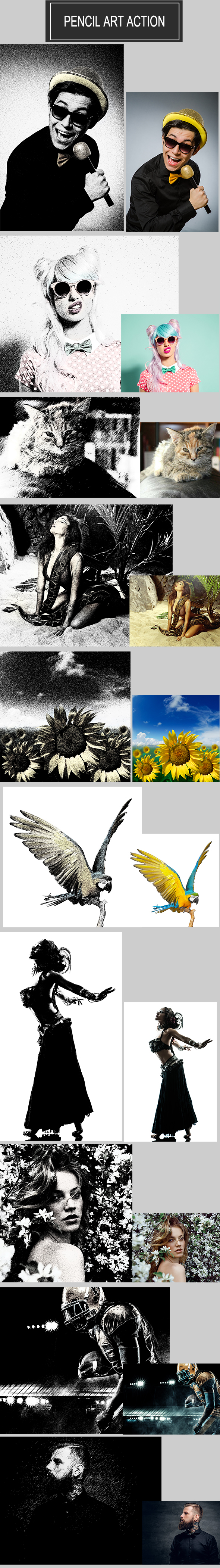 Pencil Art Action - Photo Effects Actions