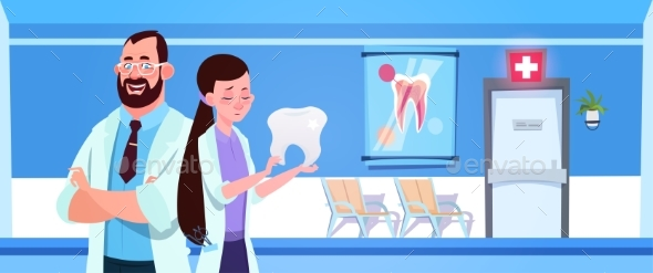 Man and Woman Dentists Team Holding Tooth - Health/Medicine Conceptual