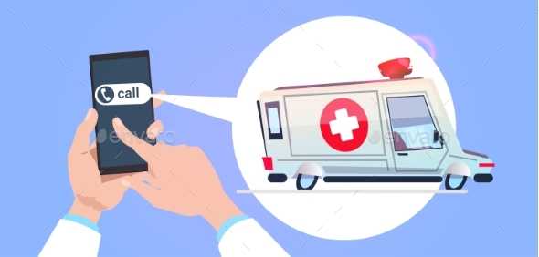 Hand Holds Smart Phone Calling Emergency Service - Health/Medicine Conceptual