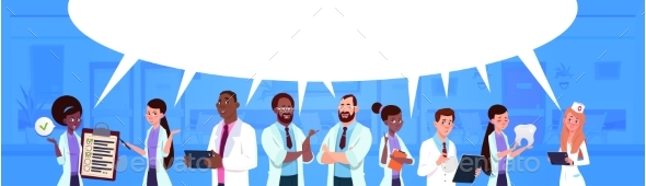 Mixed Race Team of Doctors Standing Over White Chat - Health/Medicine Conceptual