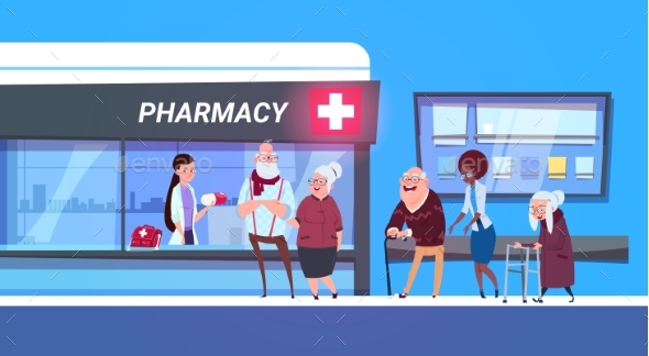 Group of People Standing in Line to Pharmacy Store - Health/Medicine Conceptual