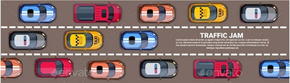 Highway Traffic Jam Top View - Miscellaneous Vectors