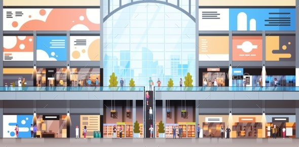 Modern Shopping Mall Interior With Many People - Buildings Objects