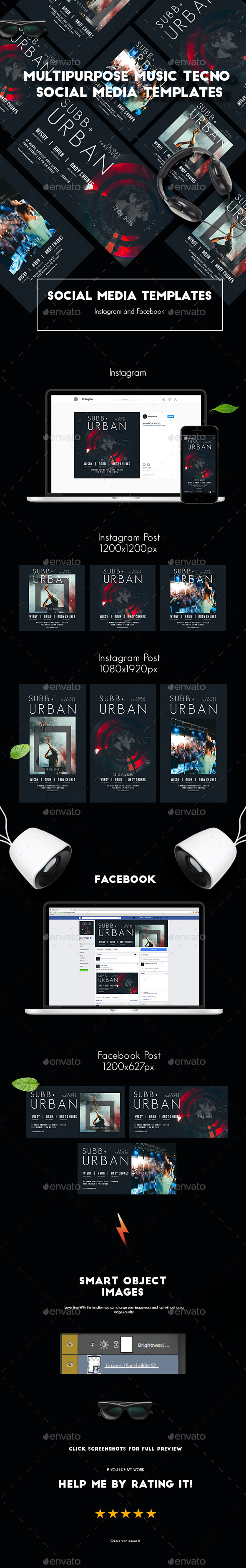 Multipurpose Music Tecno Social Media Templates - Social Media Web Elements