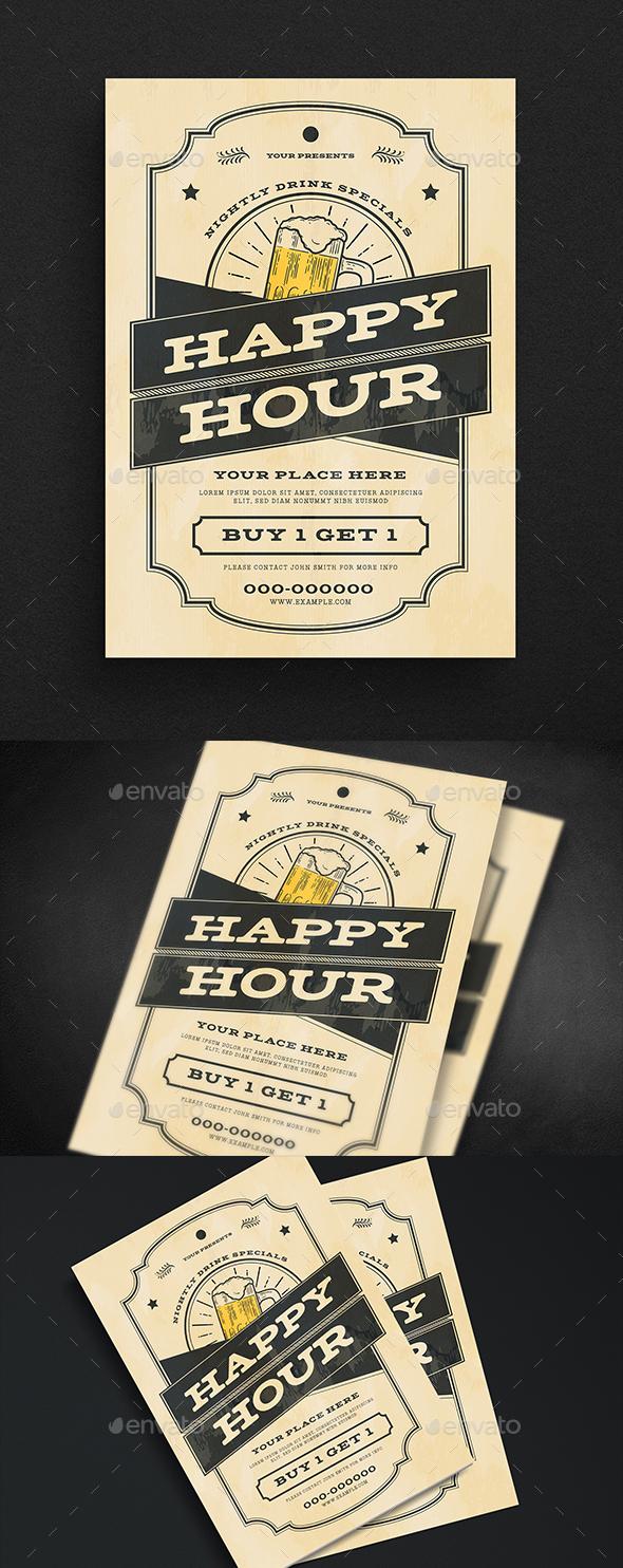 Vintage Happy Hour Beer flyer - Events Flyers