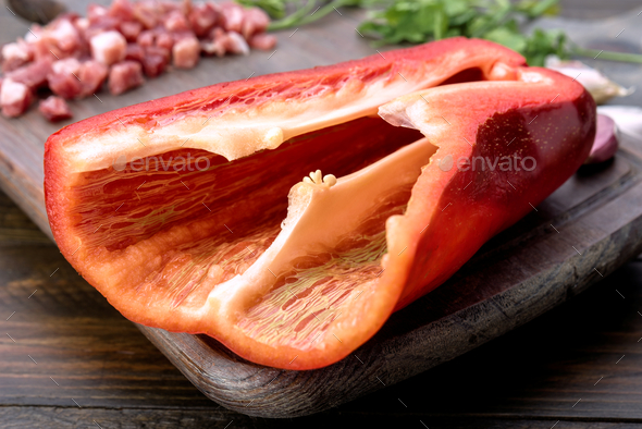 red pepper salad on kitchen board - Stock Photo - Images