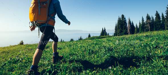 Hiking in beautiful nature - Stock Photo - Images