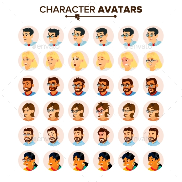 Business People Avatars Set Vector. - People Characters