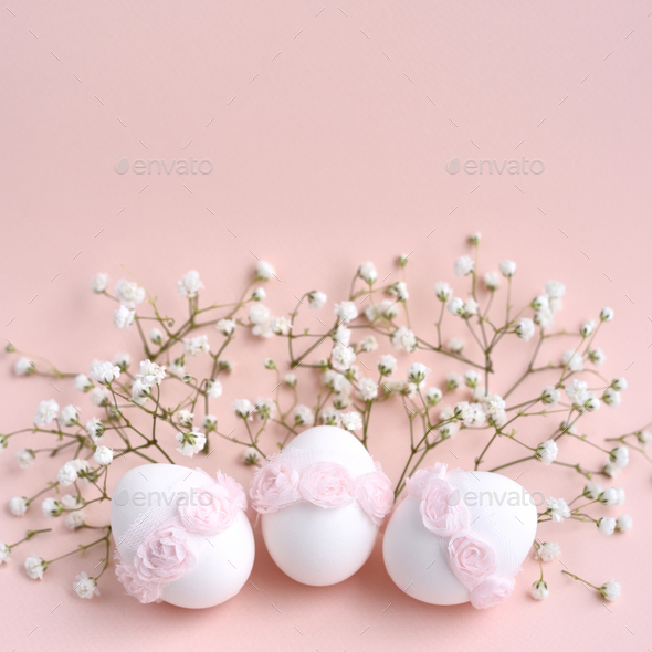 Easter pink background with empty space for text - Stock Photo - Images