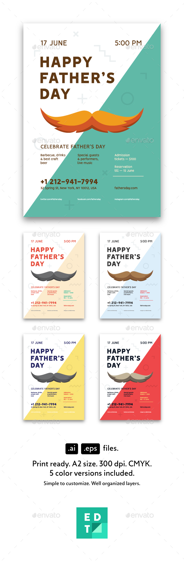 Father's Day Poster Template - Holidays Events