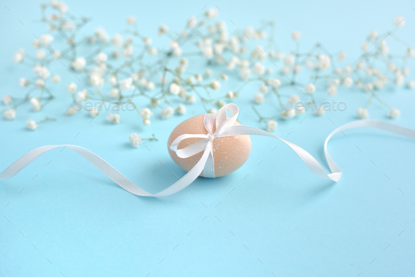 Easter blue background with empty space for text - Stock Photo - Images