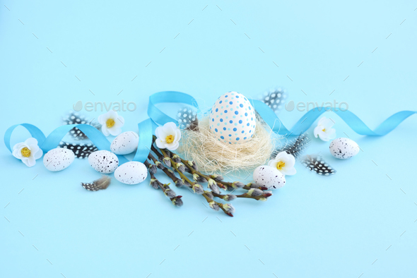 The concept of a holiday and a happy Easter. Easter composition - Stock Photo - Images