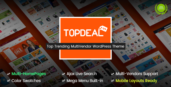 TopDeal – Multipurpose Marketplace WordPress Theme (Mobile Layouts Included)