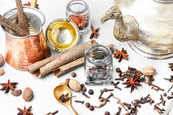 Masala tea with spices - Stock Photo - Images