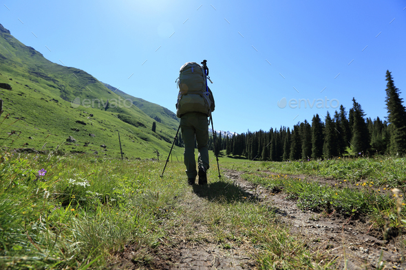 Trekking on high altitude trails - Stock Photo - Images
