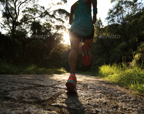 Running on forest trail - Stock Photo - Images