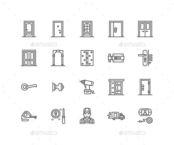 Doors Line Icons - Objects Icons