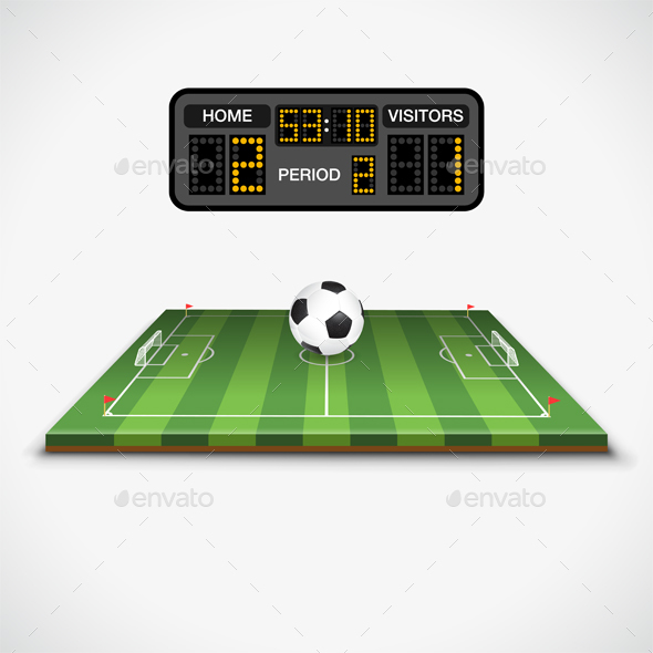 Soccer Field, Ball and Scoreboard - Sports/Activity Conceptual
