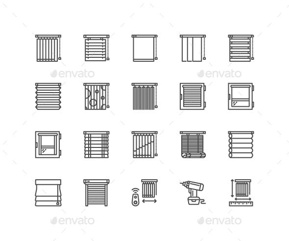 Window Blinds Line Icons - Objects Icons