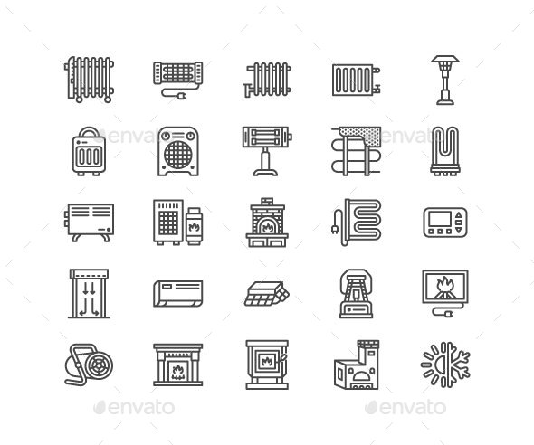 Heaters, Fireplaces Line Icons - Objects Icons