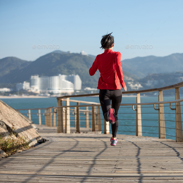 Running on seaside - Stock Photo - Images