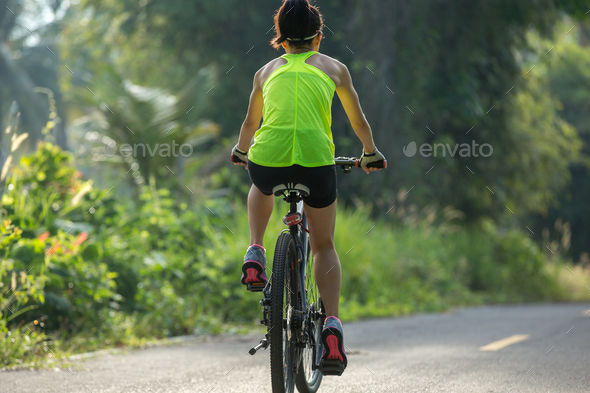 Riding bike outdoors - Stock Photo - Images