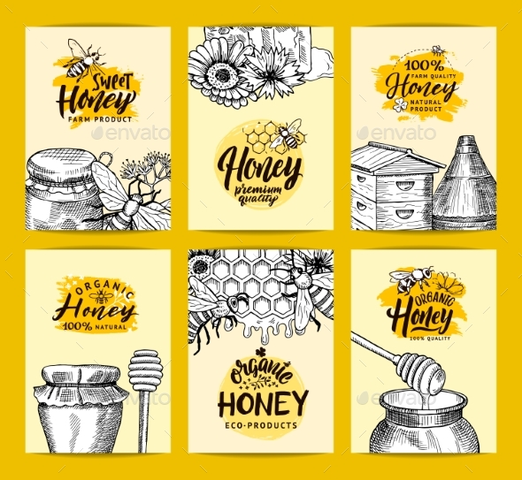Vector Card Templates Set for Honey Shop or Farm - Miscellaneous Vectors