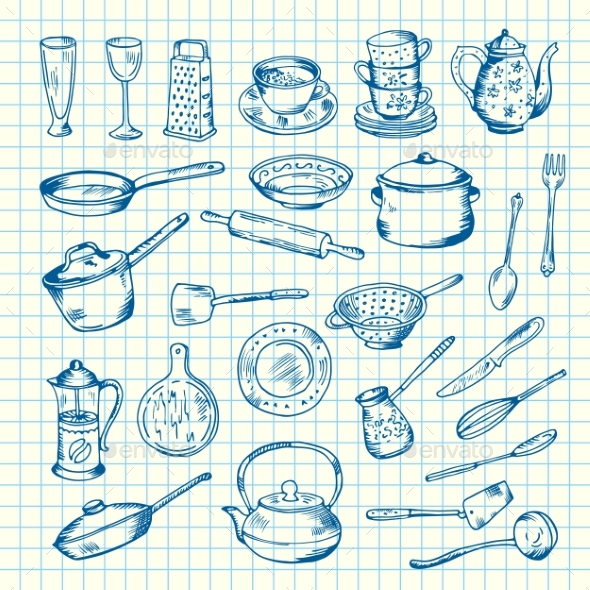 Vector Set of Kitchen Utensils on Cell Sheet - Man-made Objects Objects