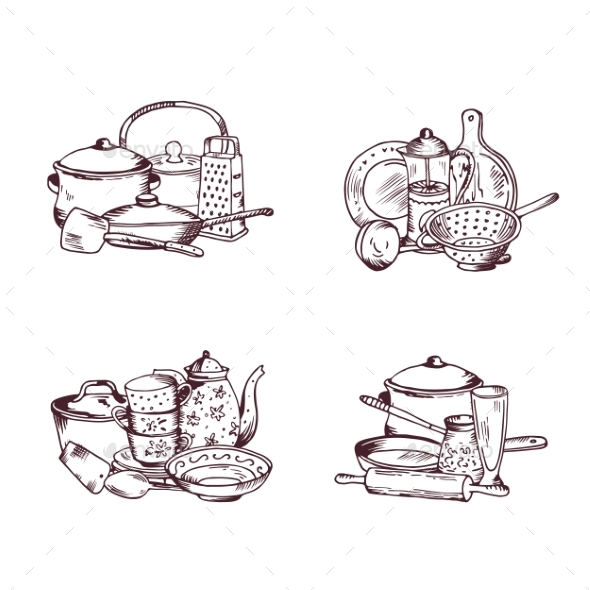 Vector Piles of Hand Drawn Kitchen Utensils Set - Man-made Objects Objects