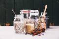 Glass jars with various legumes and grains - PhotoDune Item for Sale