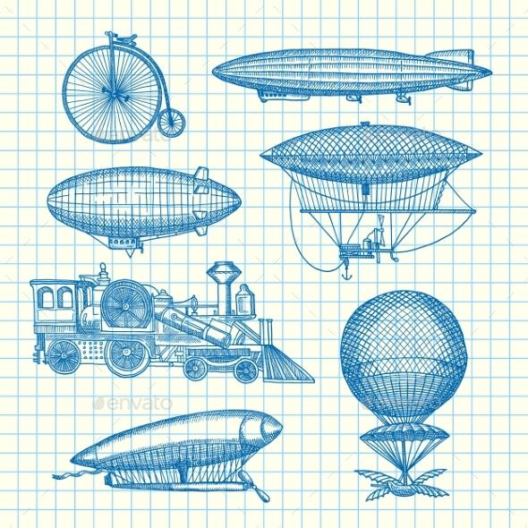 Vector Set of Steampunk Hand Drawn Dirigibles - Miscellaneous Vectors