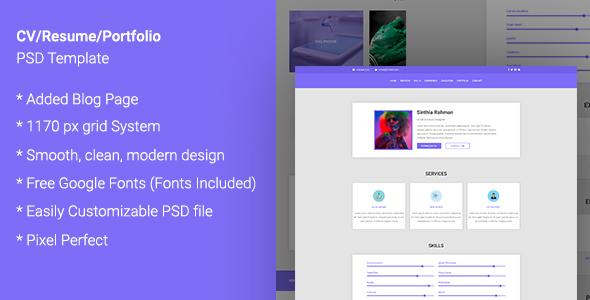 CV  /RESUME / Portfolio PSD Template - Portfolio Creative