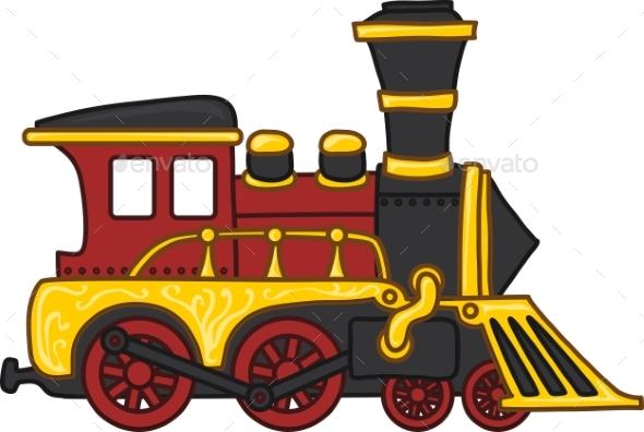 Cartoon Toy Train - Man-made Objects Objects