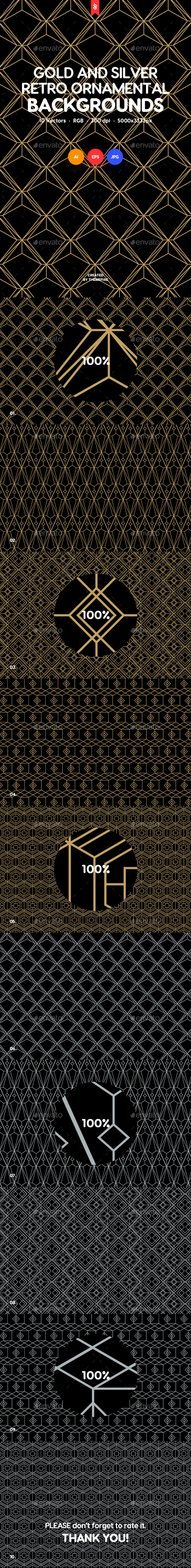 Gold and Silver Retro Ornamental Backgrounds - Backgrounds Graphics