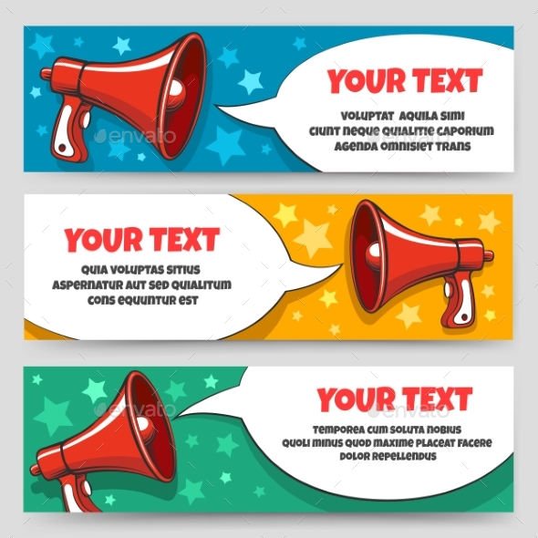 Announcement Megaphone Banners - Miscellaneous Vectors