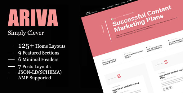 Ariva - Simple Text-Based WordPress Blog Theme - Personal Blog / Magazine