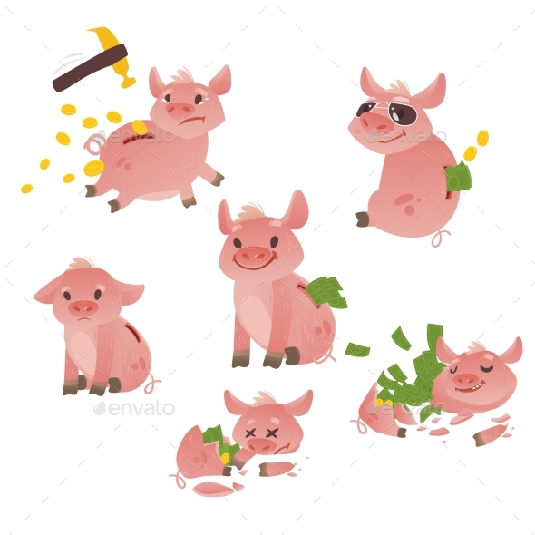 Vector Cartoon Piggy Bank Set - Characters Vectors