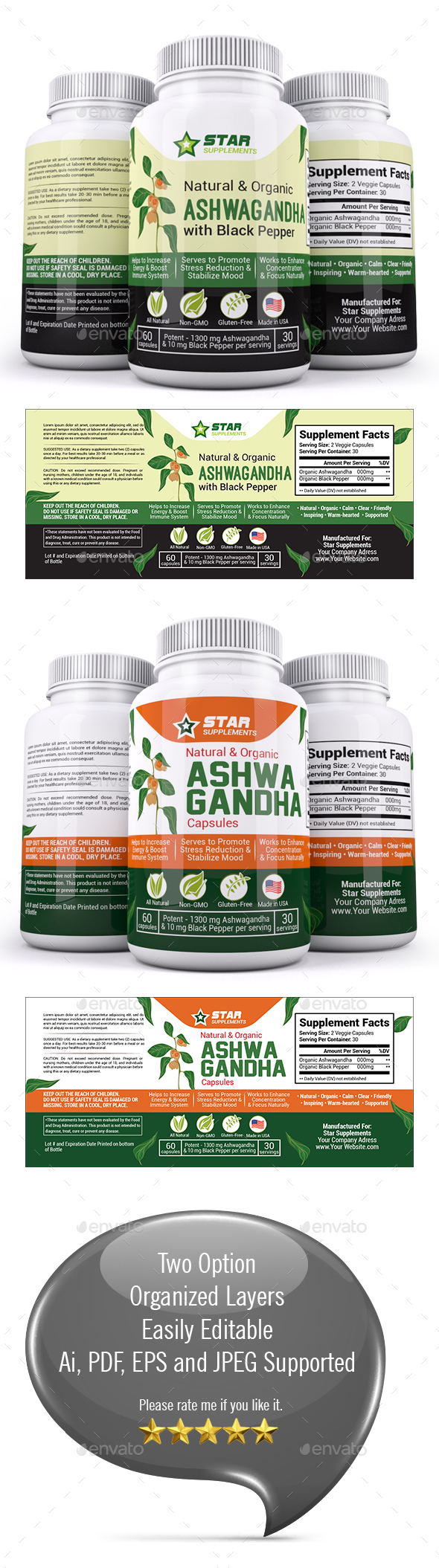 Ashwagandha Supplement Label Template - Packaging Print Templates