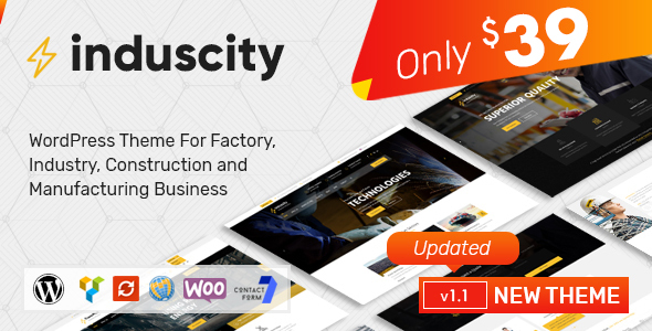 Induscity - Factory, Industry, Construction and Manufacturing Business WordPress Theme - Business Corporate