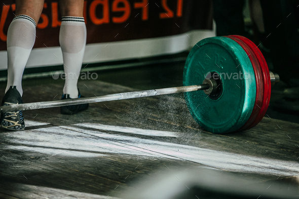 rod with plates for deadlift  - Stock Photo - Images