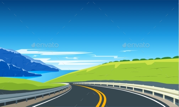 Turning Highway Banner - Landscapes Nature