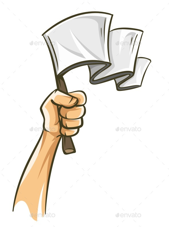Hand Holding White Flag Capitulation Concept Losing - Miscellaneous Vectors