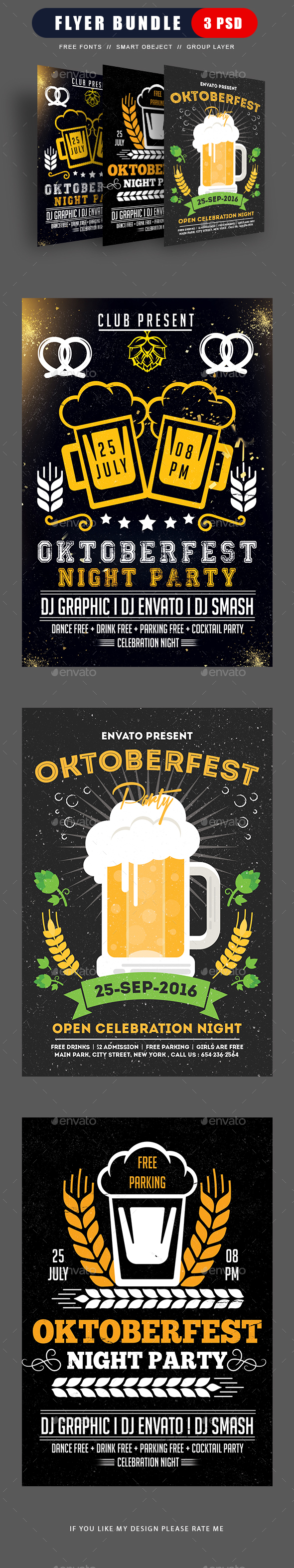 Oktoberfest Festival Flyers Bundle - Flyers Print Templates