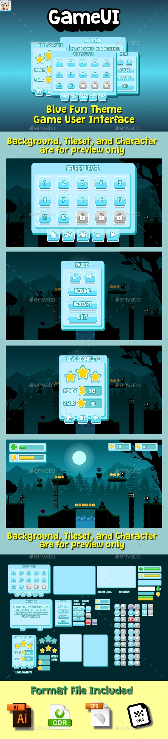 Blue Themed Game UI - User Interfaces Game Assets