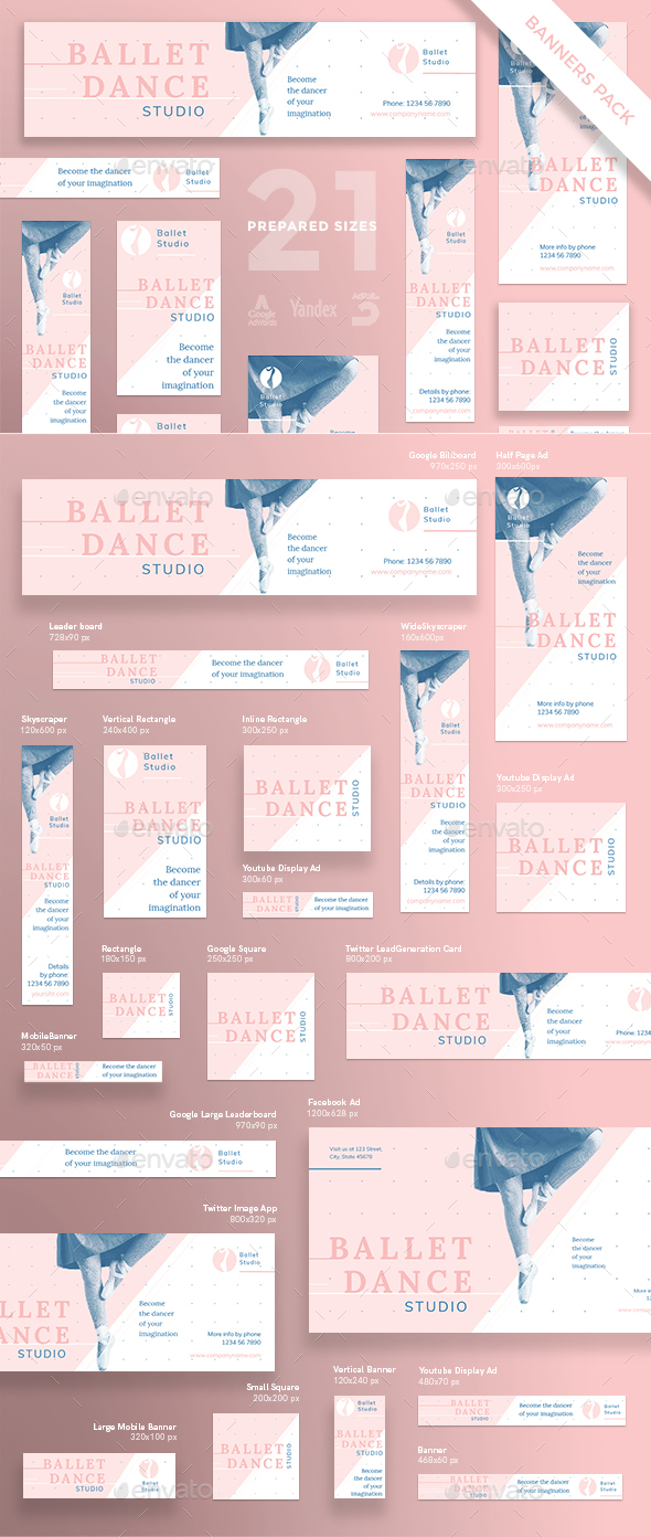Ballet Dance Studio Banner Pack - Banners & Ads Web Elements