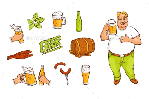 Beer and Drinking Man with Appetizers - Food Objects
