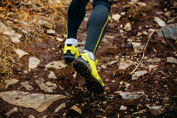 feet athlete runner running trail - Stock Photo - Images